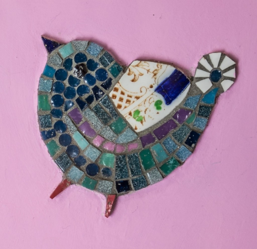 little bird mosaic with recycled china and italian smalti glass